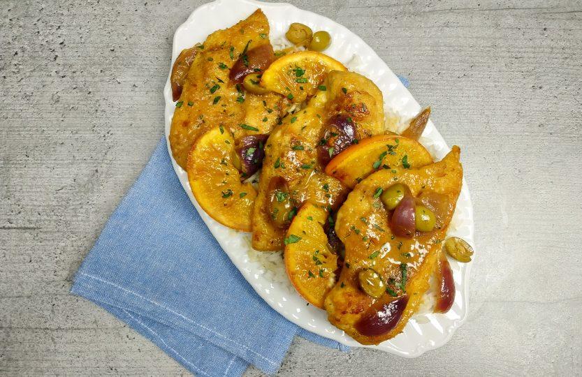 Marokański kurczak w pomarańczach
